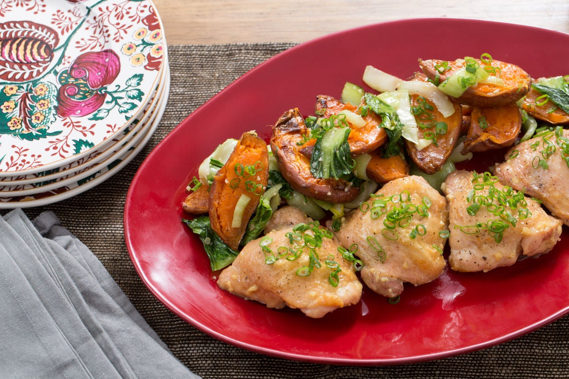 Miso-Honey Roasted Chicken with Sesame Bok Choy & Sweet Potatoes