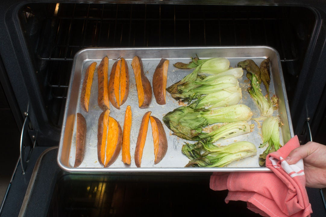 Roast the sweet potatoes & bok choy: