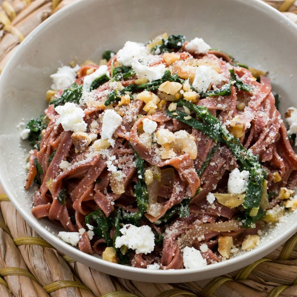 Fresh Beet Linguine with Goat Cheese, Swiss Chard & Toasted Walnuts