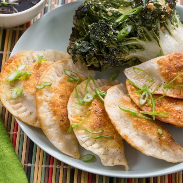 Shiitake Mushroom & Cabbage Dumplings with Garlic-Roasted Tatsoi