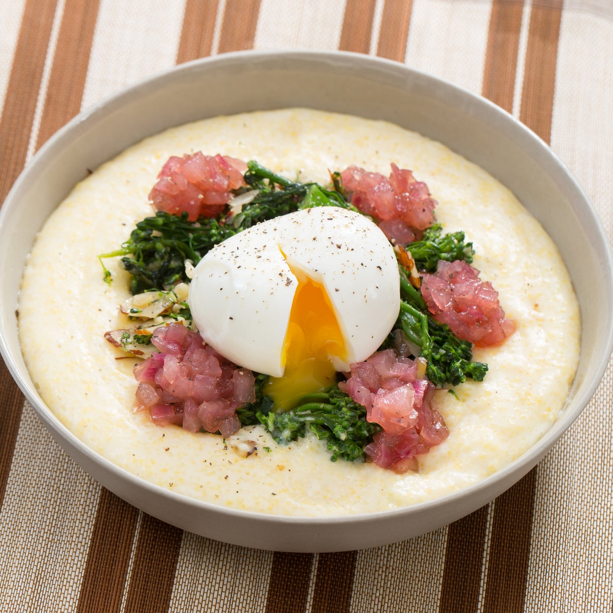 Broccolini & Goat Cheese Polenta with Soft-Boiled Eggs & Red Onion Jam
