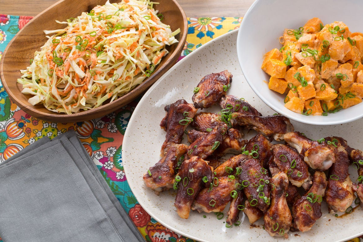 BBQ Chicken Wings with Smoky Sweet Potato Salad & Coleslaw