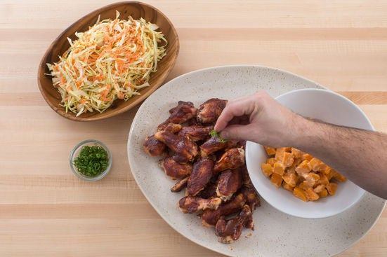 Finish the chicken wings & serve your dish: