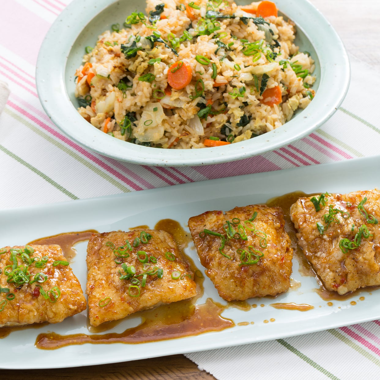 Sweet & Sour Cod with Tatsoi, Carrot & Ginger Fried Rice