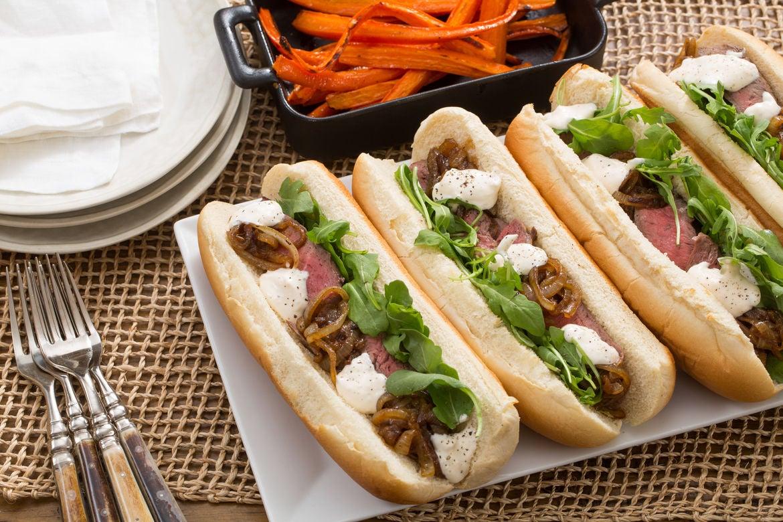 Blue apron beta - Steak Sandwiches Roasted Carrots With Caramelized Onion Lemon Aioli