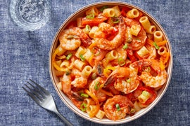 Shrimp & Puttanesca-Style Tomato Sauce with Ditali Pasta