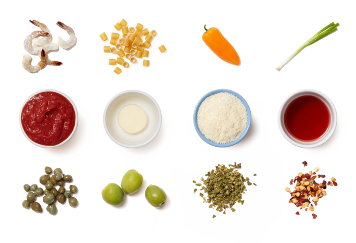 Shrimp & Puttanesca-Style Tomato Sauce with Ditali Pasta