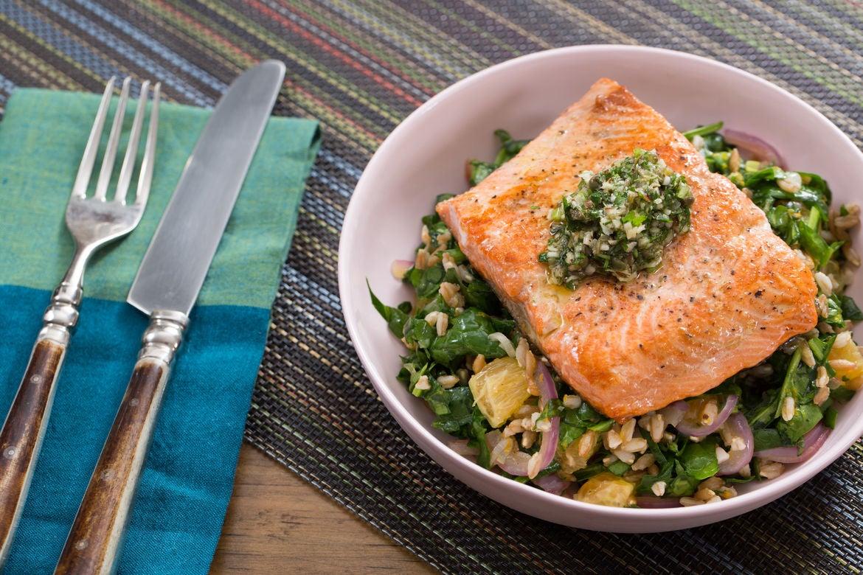 Seared Salmon & Salsa Verde with Orange, Spinach & Farro Salad