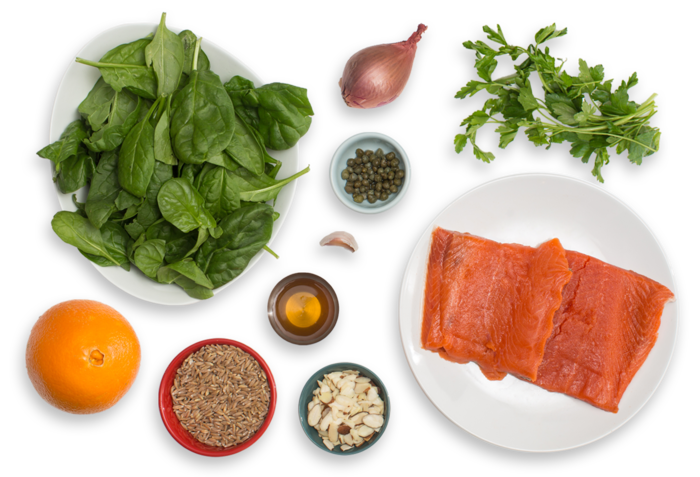 Seared Salmon & Salsa Verde with Orange, Spinach & Farro Salad ingredients