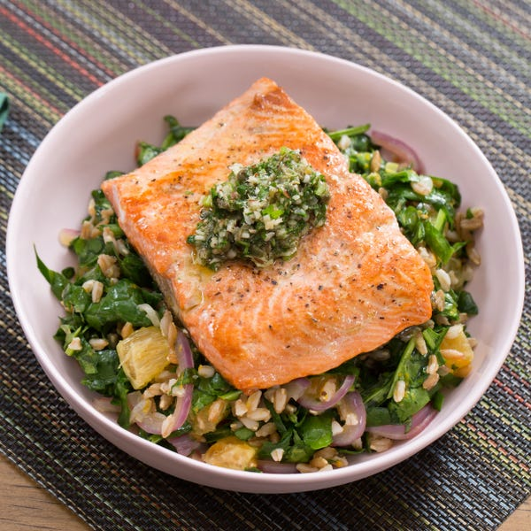 Seared Salmon & Salsa Verde with Orange, Spinach & Farro Salad