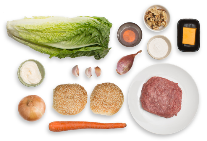 Juicy Lucy Burgers with Frizzled Onion & Romaine-Walnut Salad ingredients