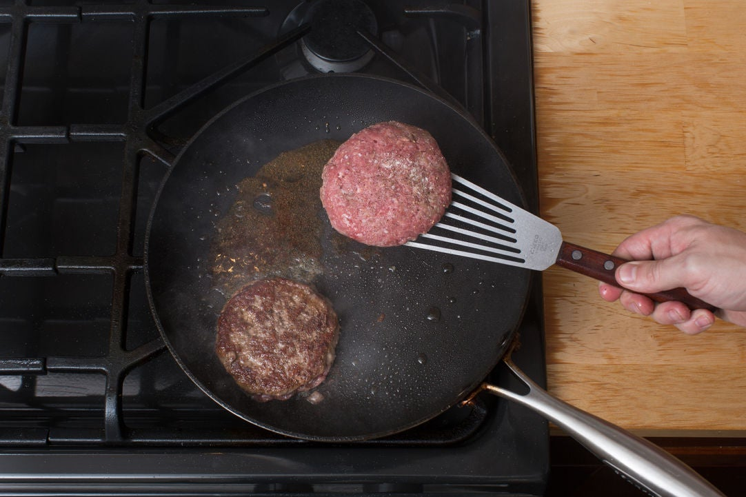 Cook the burgers: