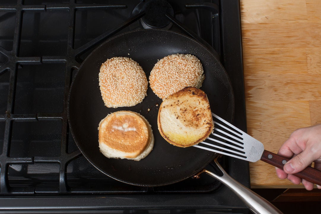 Toast the buns & finish the burgers: