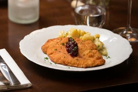 Chicken Schnitzel with Fingerling Potato Salad & Lingonberry Jam