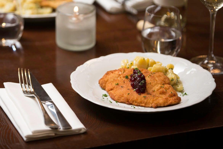 Chicken Schnitzel with Fingerling Potato Salad & Lingonberry Jam