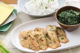 Catfish Meunière with Jasmine Rice & Creamed Spinach