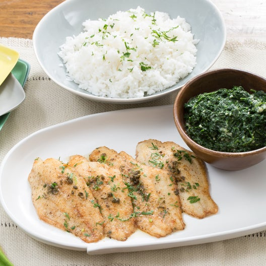Catfish Meunière with Jasmine Rice & Creamed Spinach