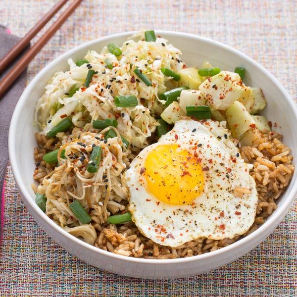 Vegetable Bibimbap & Kimchi with Enoki Mushrooms & Roasted Turnip