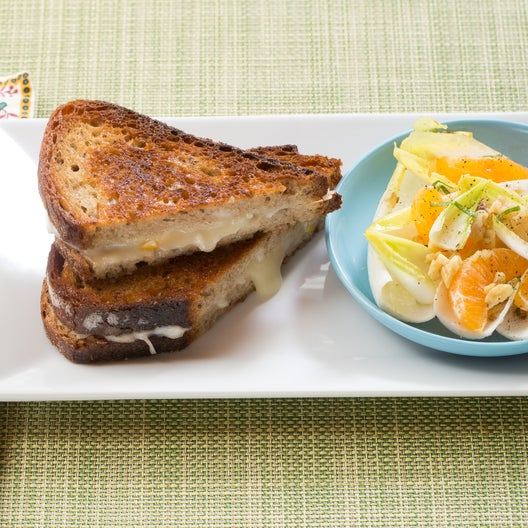 Fontina & Preserved Lemon Grilled Cheese Sandwiches with Endive, Clementine & Mint Salad