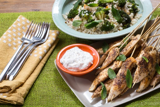 Za'atar Chicken Skewers & Mint Yogurt Sauce with Roasted Broccoli, Apricots & Almonds