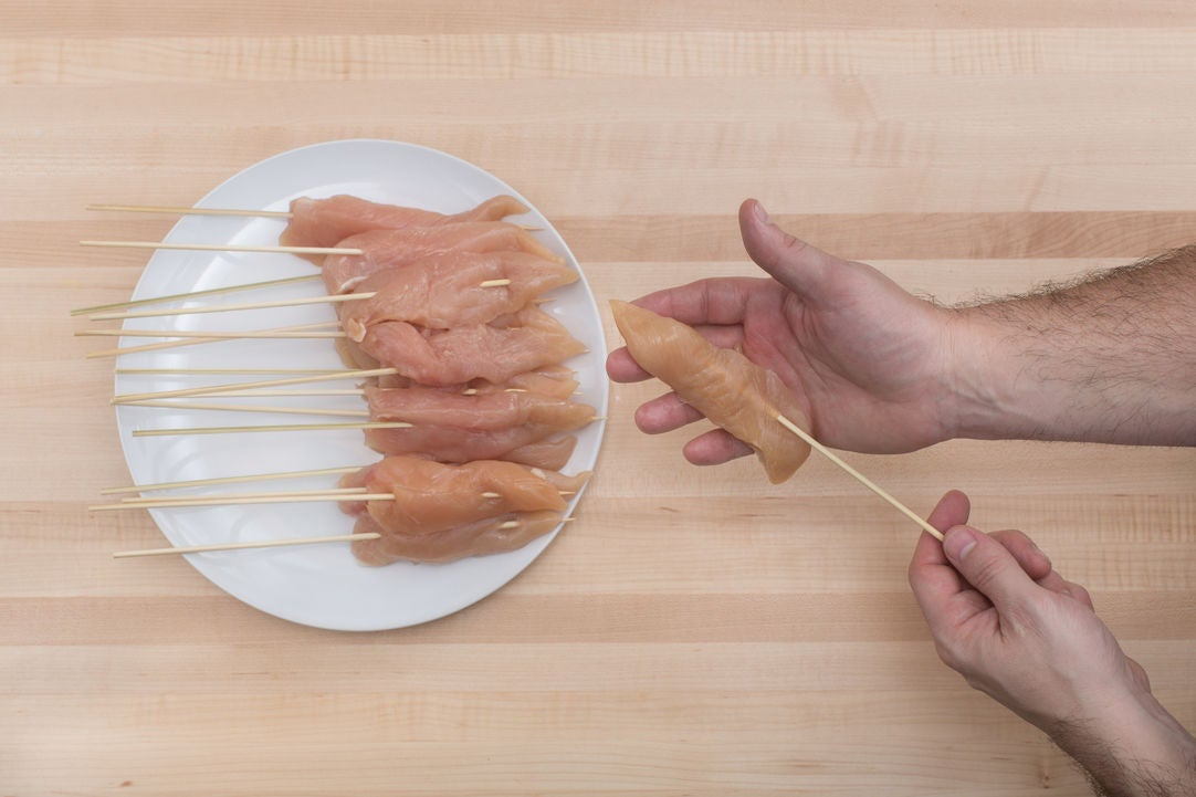 Assemble the chicken skewers: