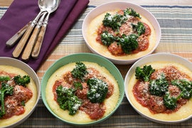 Pork & Ricotta Meatballs with Creamy Polenta & Broccolini