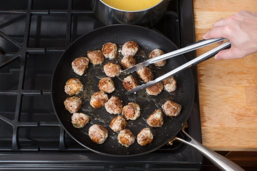 Brown the meatballs: