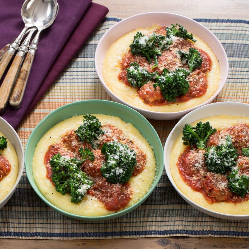 Pork & Ricotta Meatballs with Creamy Polenta & Broccolini