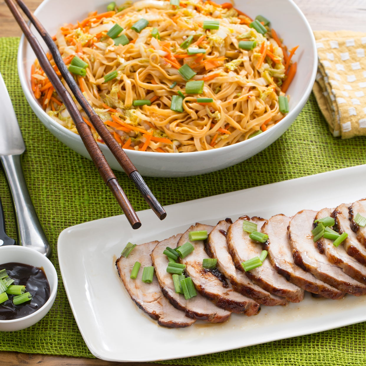 Hoisin-Glazed Roast Pork with Stir-Fried Peanut Noodles