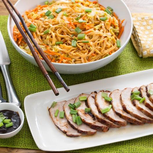 Hoisin Glazed Roast Pork With Stir Fried Peanut Noodles
