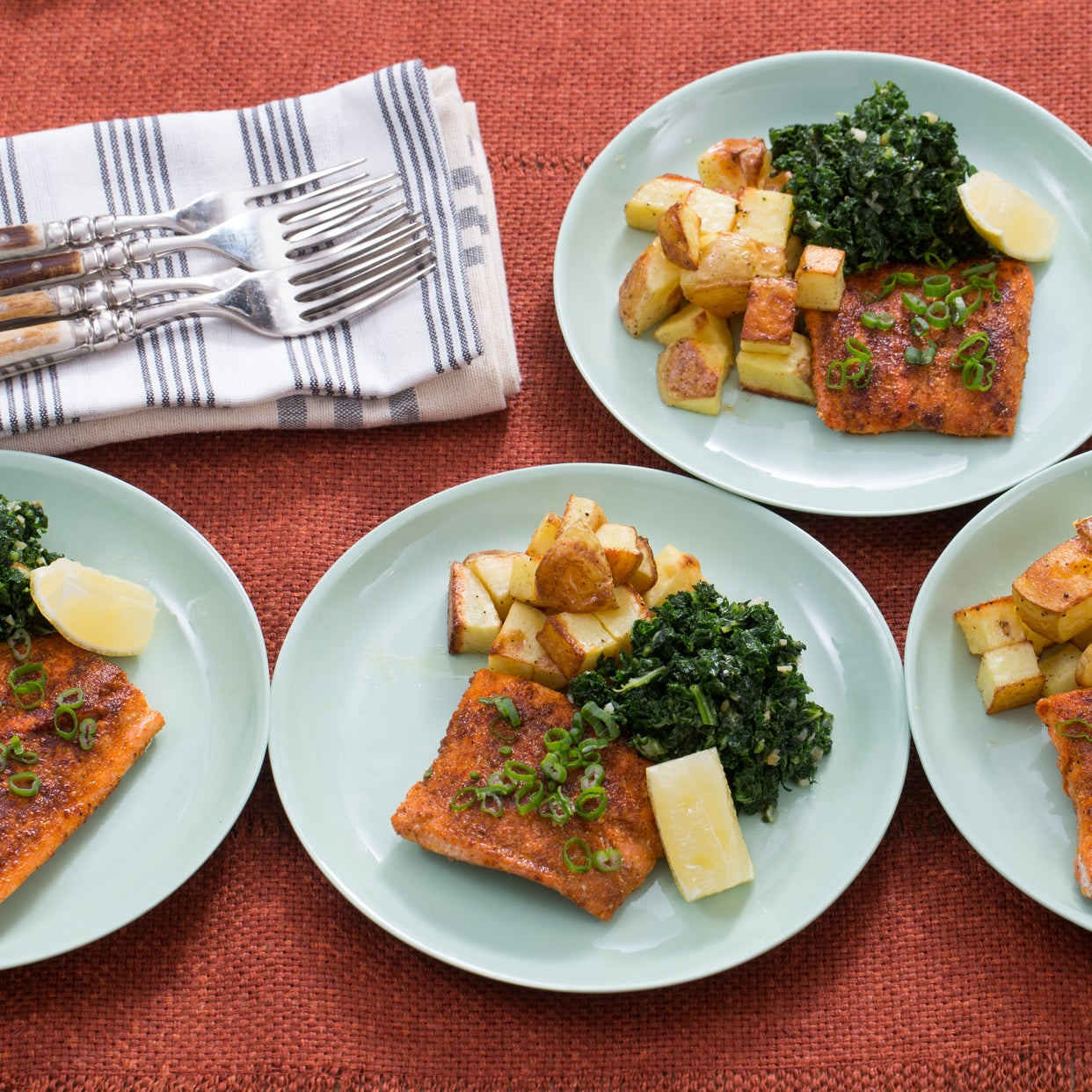 "Seared Steakhouse Salmon with Roasted Potatoes & ""Creamed"" Kale"