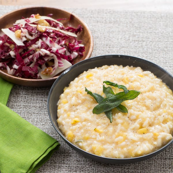 Acorn Squash Risotto with Crispy Sage & Radicchio Salad