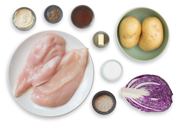 Alsatian Spiced Chicken with Smashed Potatoes & Glazed Red Cabbage ingredients