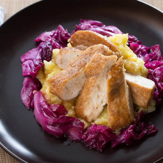 Alsatian Spiced Chicken with Smashed Potatoes & Glazed Red Cabbage