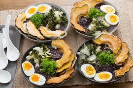 Miso Ramen & Tempura Acorn Squash with Tatsoi & Soft-Boiled Eggs