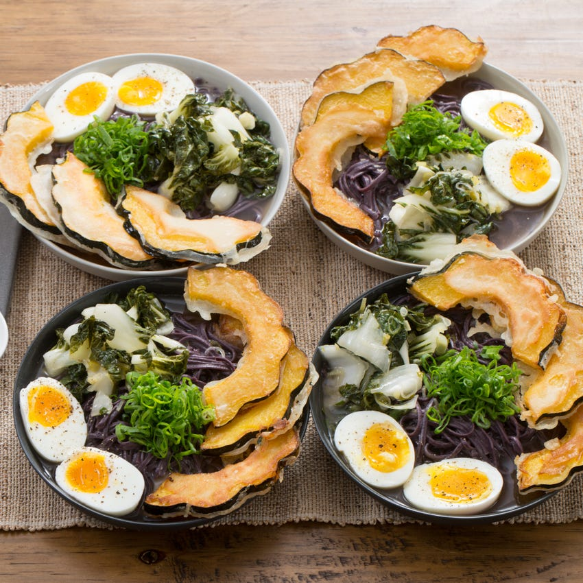 Miso Ramen & Tempura Acorn Squash with Tatsoi & Soft-Boiled Eggs