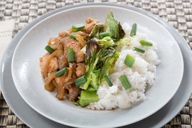 Adobo-Style Chicken with Roasted Bok Choy & Jasmine Rice