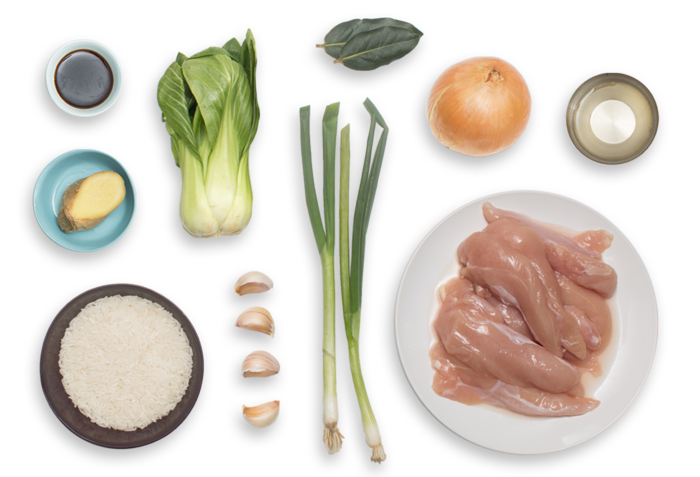 Adobo-Style Chicken with Roasted Bok Choy & Jasmine Rice ingredients