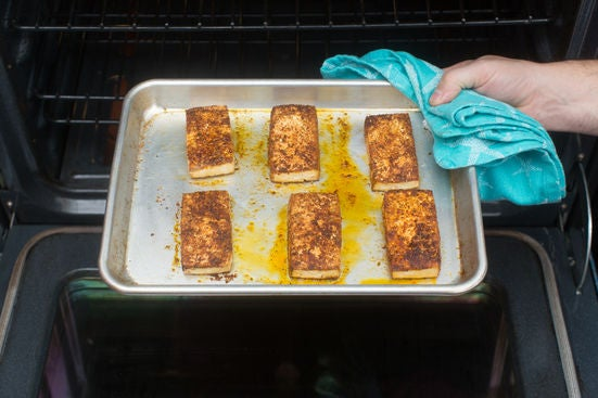 Bake the tofu: