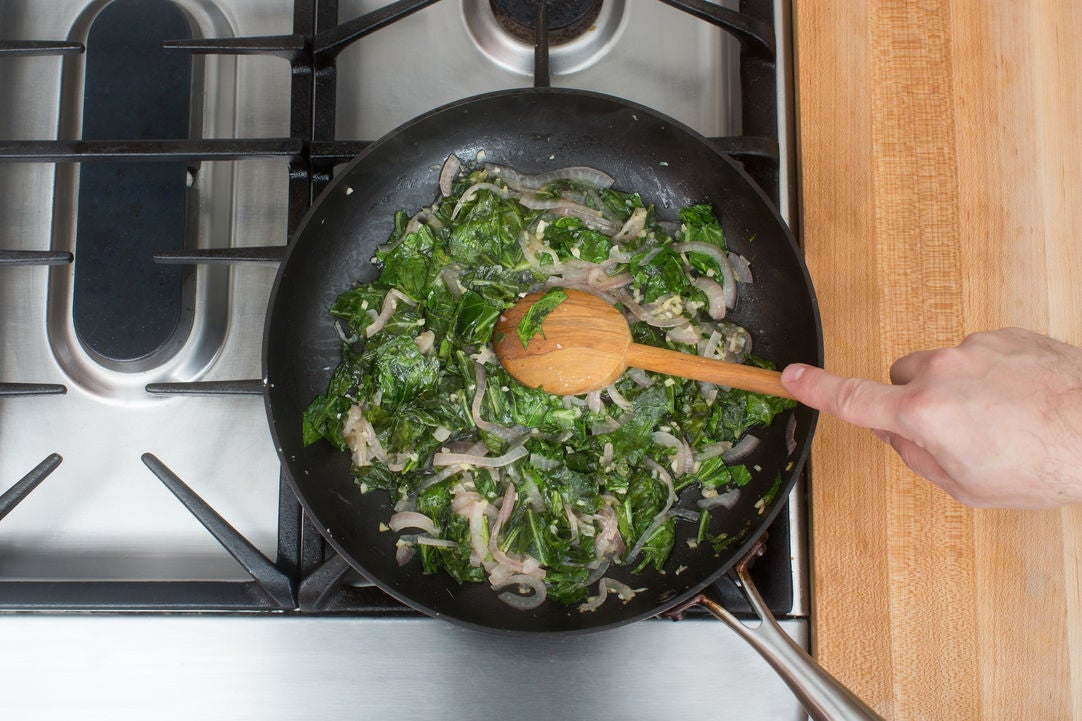 Add the collard greens:
