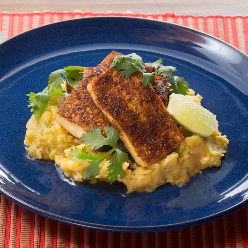Baked Jerk Tofu & Smashed Plantains with Garlic-Ginger Collard Greens