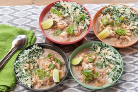 Garam Masala Shrimp with Garlic-Spinach Rice & Toasted Coconut Flakes