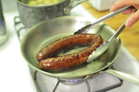 Cook the kielbasa: