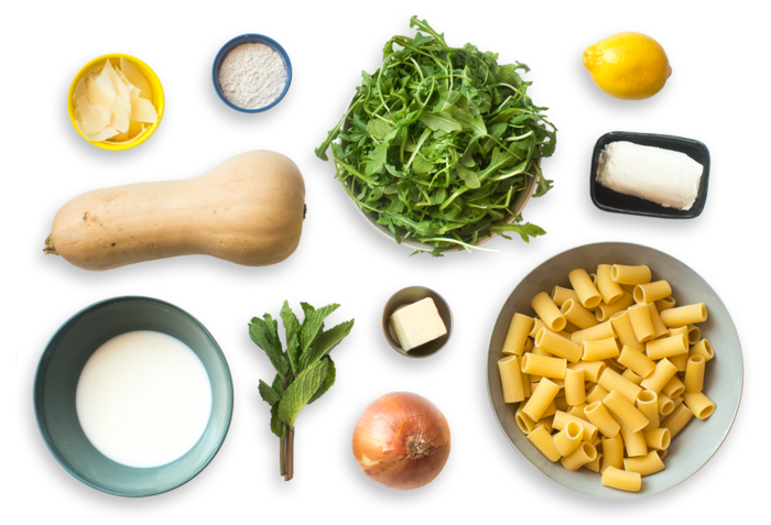 Goat Cheese & Butternut Squash Pasta with Arugula & Shaved Parmesan Salad ingredients