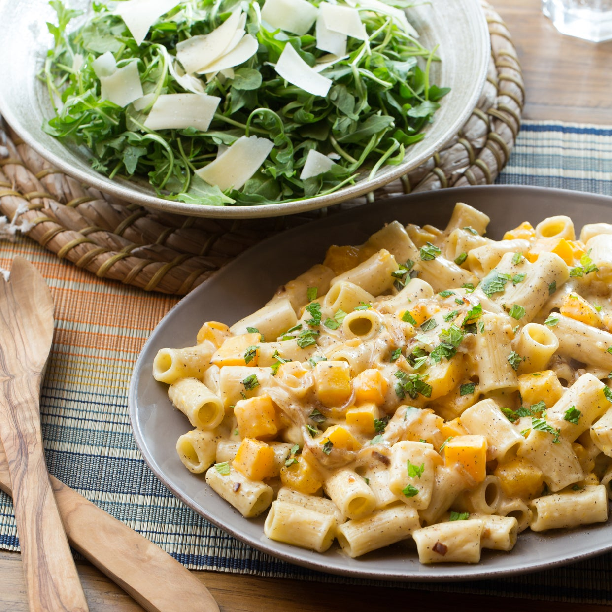 Goat Cheese & Butternut Squash Pasta with Arugula & Shaved Parmesan Salad
