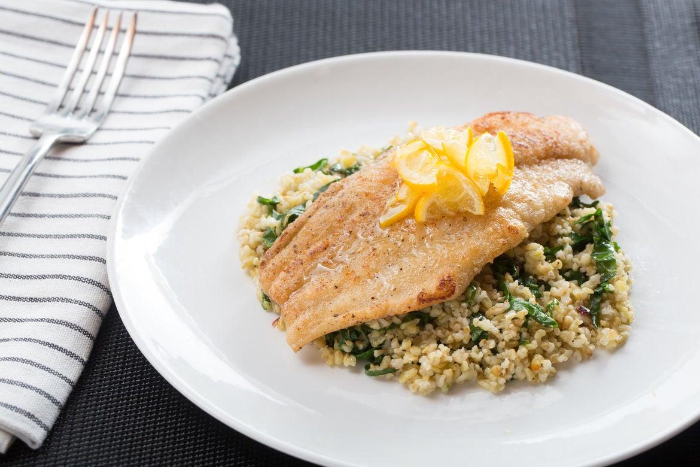 Meyer Lemon-Glazed Catfish with Ginger Collard Green & Cracked Freekeh Salad
