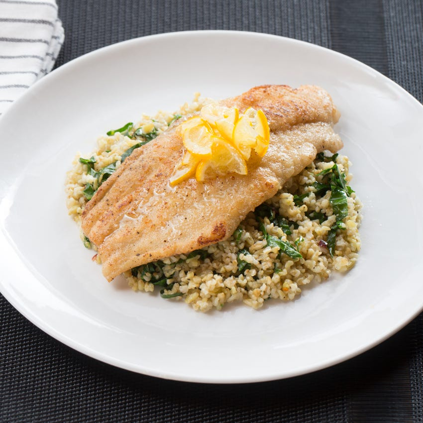Meyer Lemon-Glazed Catfish with Ginger Collard Green & Cracked Freekeh Salad