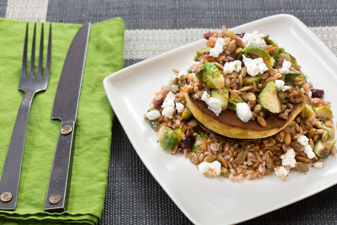 Acorn Squash, Brussels Sprout & Farro Salad with Crispy Pepitas & Cranberry Agrodolce