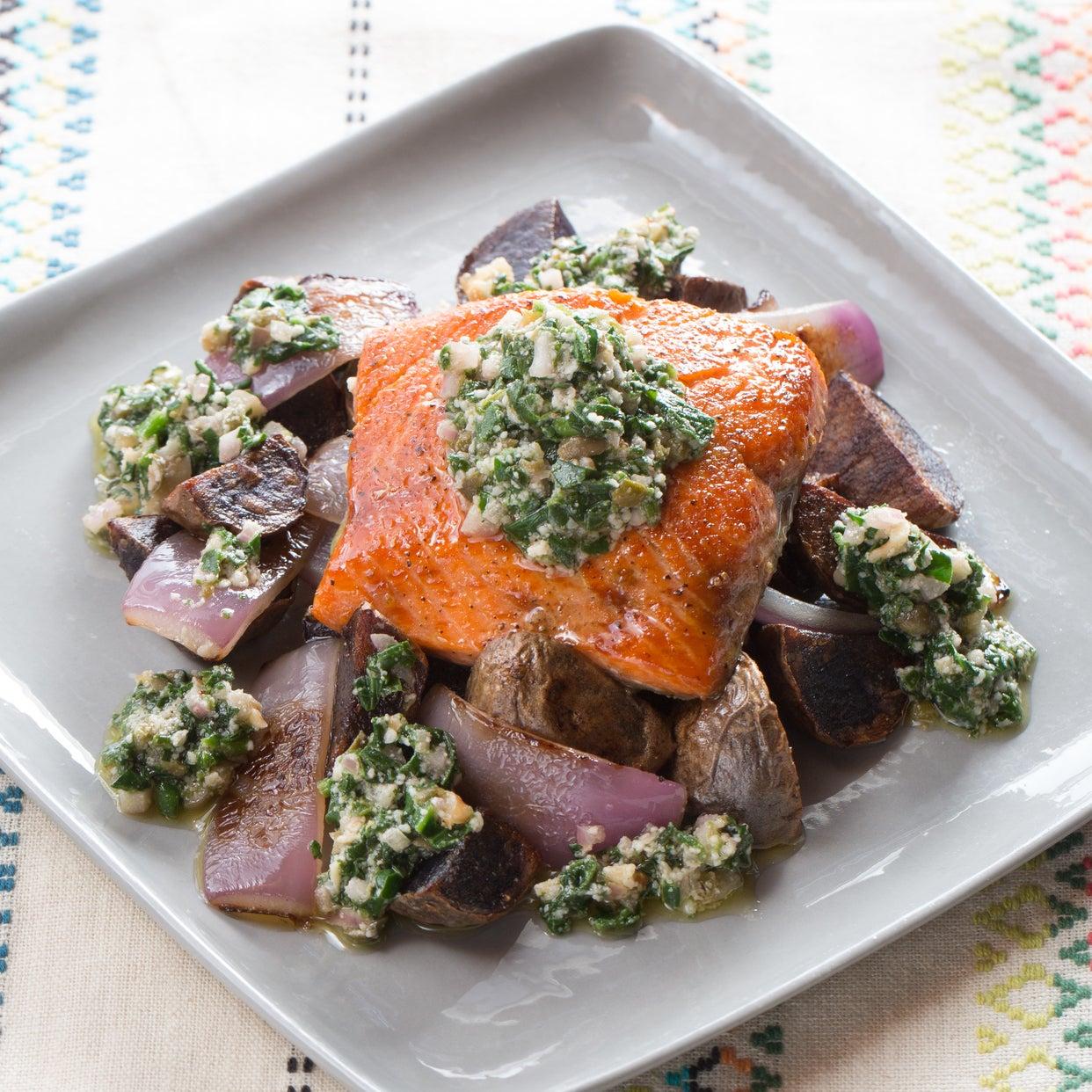 Seared Salmon & Spinach-Walnut Pesto with Purple Potato & Red Onion Hash