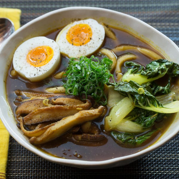 Udon Noodle & Tatsoi Soup with Japanese Curry Broth & Soft-Boiled Eggs